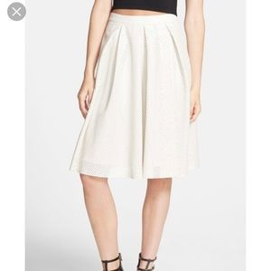 ASTR perforated white faux leather skirt